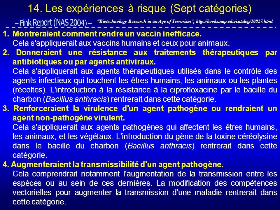 14. Les expériences à risque (Sept catégories) Biotechnology Research in an Age of Terrorism, http://books.nap.edu/catalog/10827.html 1.Montreraient c