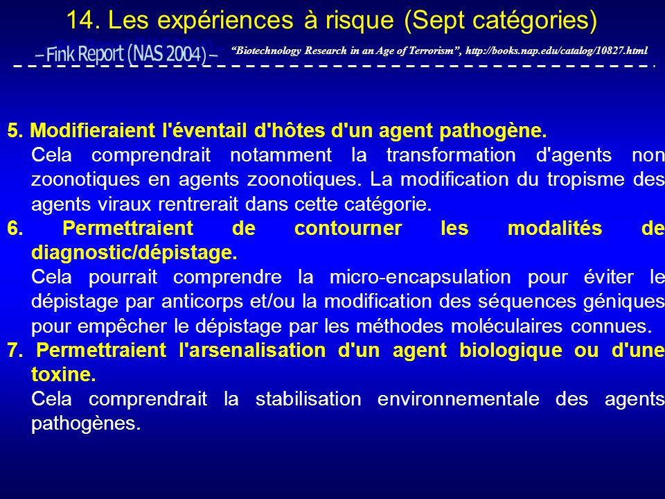 14. Les expériences à risque (Sept catégories) Biotechnology Research in an Age of Terrorism, http://books.nap.edu/catalog/10827.html 5. Modifieraient