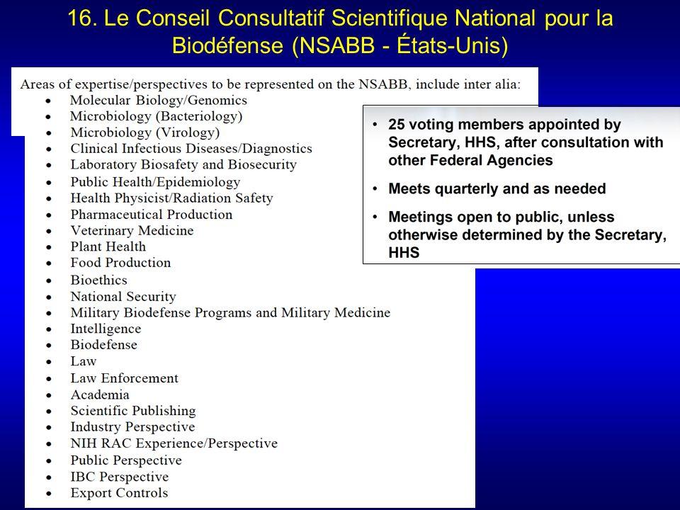 16. Le Conseil Consultatif Scientifique National pour la Biodéfense (NSABB - États-Unis)