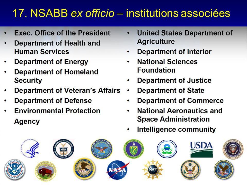17. NSABB ex officio – institutions associées