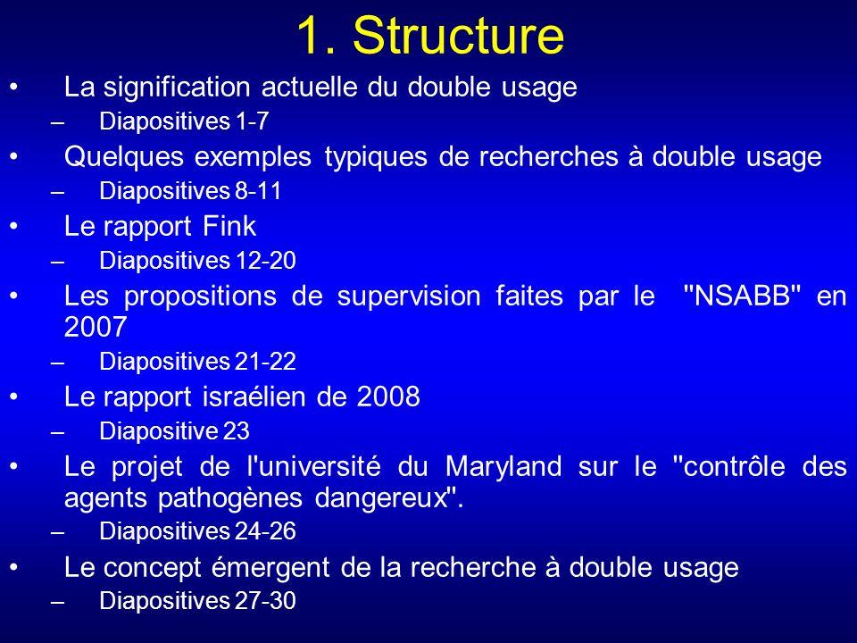 1. Structure La signification actuelle du double usage –Diapositives 1-7 Quelques exemples typiques de recherches à double usage –Diapositives 8-11 Le
