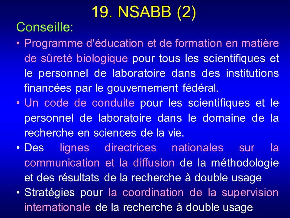 19. NSABB (2) Conseille: Programme d'éducation et de formation en matière de sûreté biologique pour tous les scientifiques et le personnel de laborato