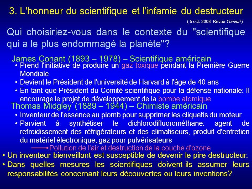 5 oct, 2008 Revue Yomiuri ) Qui choisiriez-vous dans le contexte du scientifique qui a le plus endommagé la planète .