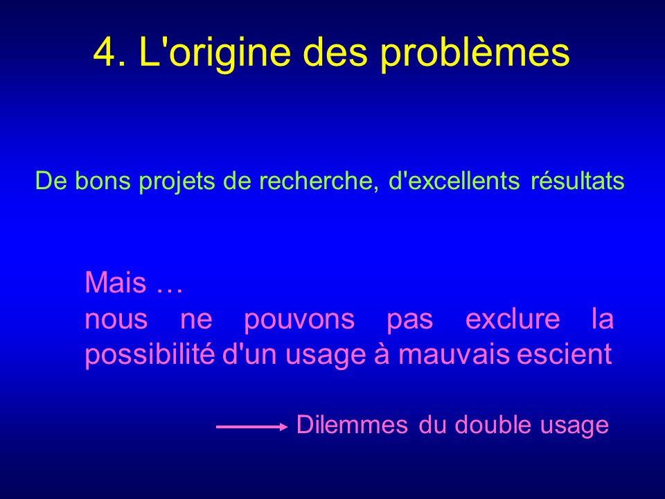 4. L'origine des problèmes De bons projets de recherche, d'excellents résultats Mais … nous ne pouvons pas exclure la possibilité d'un usage à mauvais