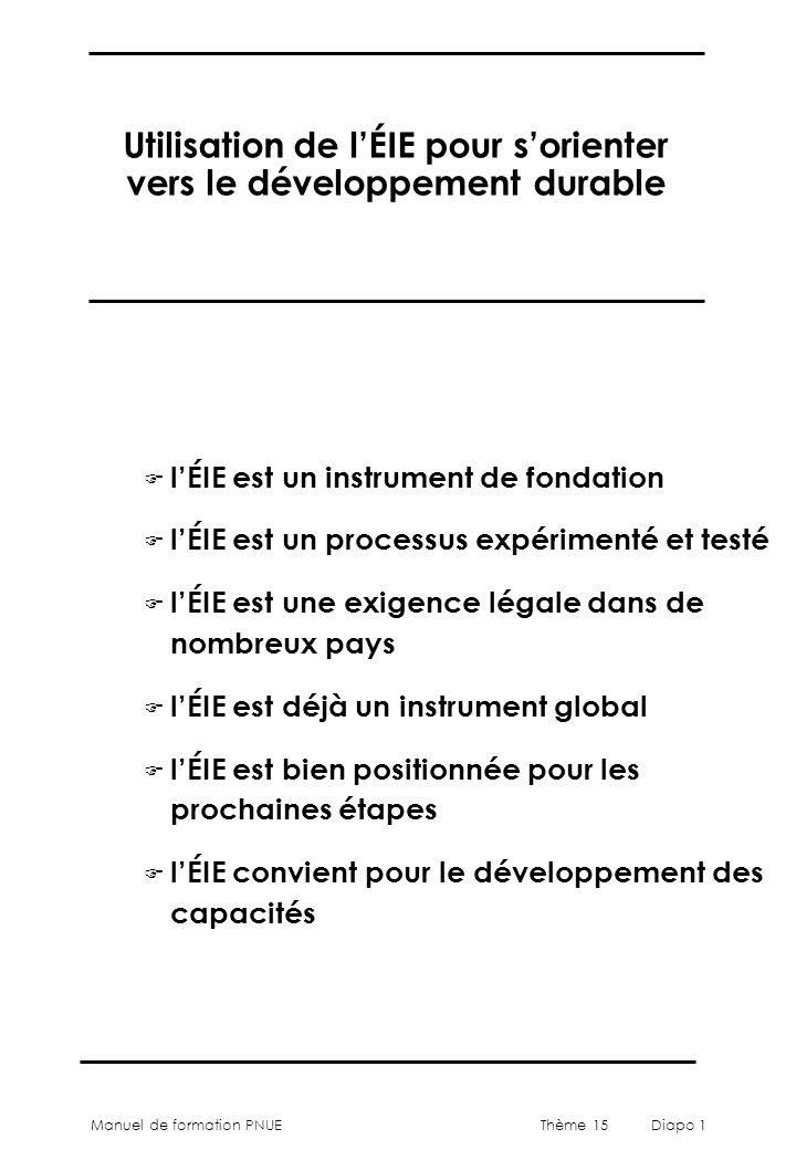 Manuel de formation PNUEThème 15 Diapo 1 Utilisation de lÉIE pour sorienter vers le développement durable F lÉIE est un instrument de fondation F lÉIE est un processus expérimenté et testé F lÉIE est une exigence légale dans de nombreux pays F lÉIE est déjà un instrument global F lÉIE est bien positionnée pour les prochaines étapes F lÉIE convient pour le développement des capacités