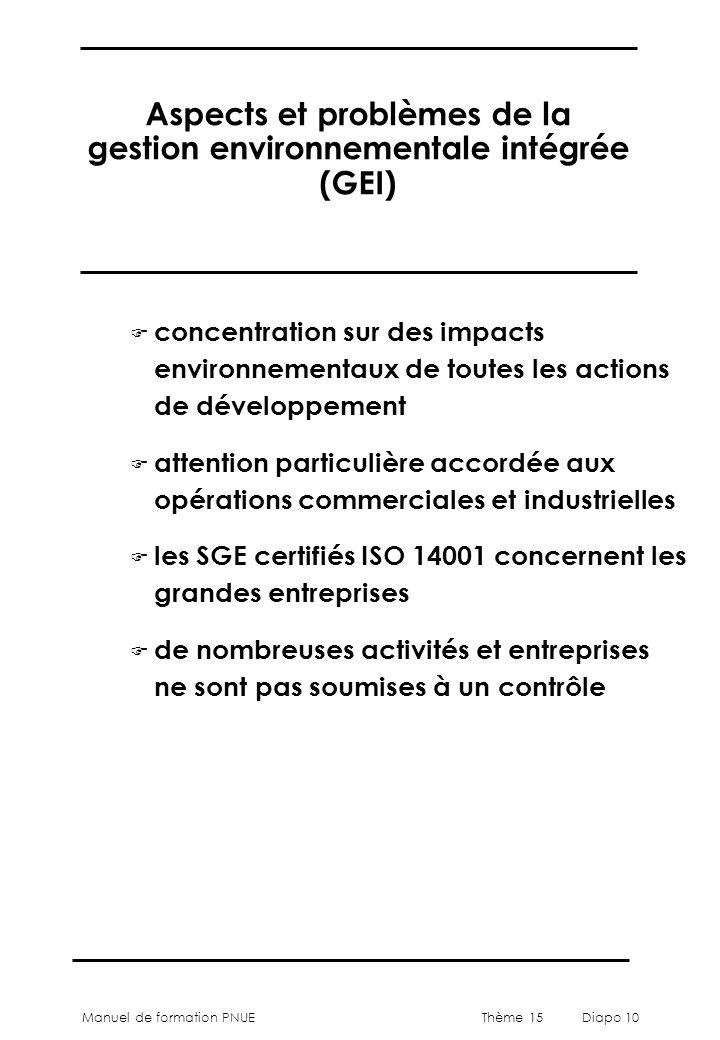 Manuel de formation PNUEThème 15 Diapo 10 Aspects et problèmes de la gestion environnementale intégrée (GEI) F concentration sur des impacts environnementaux de toutes les actions de développement F attention particulière accordée aux opérations commerciales et industrielles F les SGE certifiés ISO 14001 concernent les grandes entreprises F de nombreuses activités et entreprises ne sont pas soumises à un contrôle