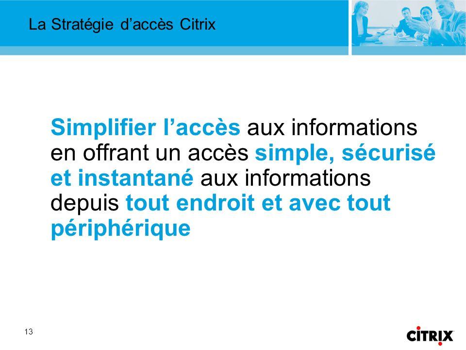 13 La Stratégie daccès Citrix Simplifier laccès aux informations en offrant un accès simple, sécurisé et instantané aux informations depuis tout endroit et avec tout périphérique