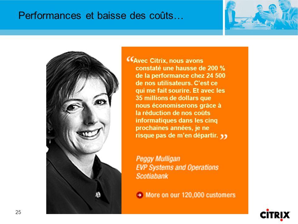 25 Performances et baisse des coûts… Peggy Mulligan Scotiabank Avec Citrix, nous avons constaté une hausse de 200 % de la performance chez 24 500 de nos utilisateurs.