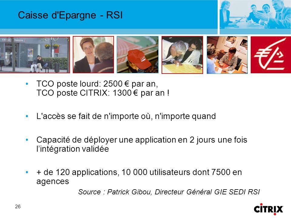 26 Caisse d Epargne - RSI TCO poste lourd: 2500 par an, TCO poste CITRIX: 1300 par an .