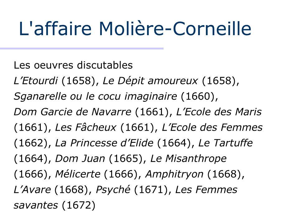 L'affaire Molière-Corneille Les oeuvres discutables LEtourdi (1658), Le Dépit amoureux (1658), Sganarelle ou le cocu imaginaire (1660), Dom Garcie de