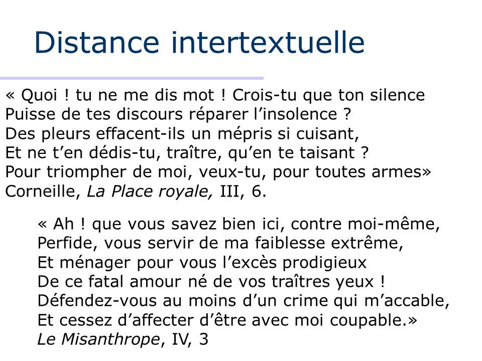 Distance intertextuelle « Quoi ! tu ne me dis mot ! Crois-tu que ton silence Puisse de tes discours réparer linsolence ? Des pleurs effacent-ils un mé