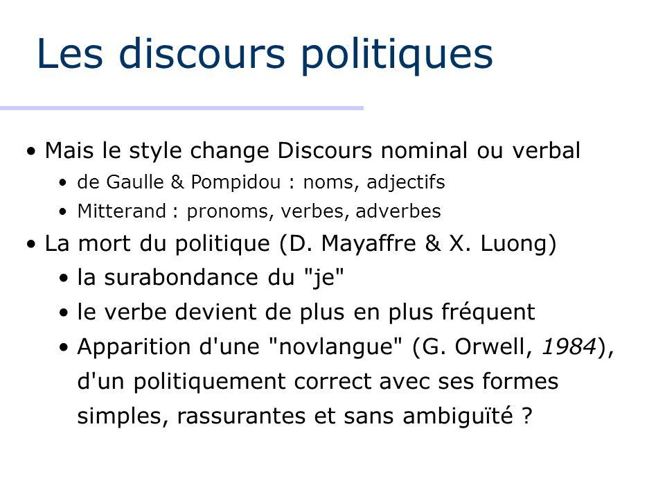 Les discours politiques Mais le style change Discours nominal ou verbal de Gaulle & Pompidou : noms, adjectifs Mitterand : pronoms, verbes, adverbes La mort du politique (D.