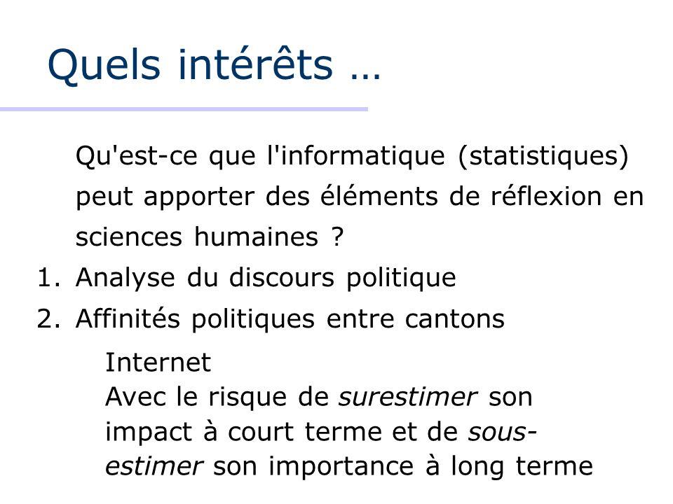Quels intérêts … Qu est-ce que l informatique (statistiques) peut apporter des éléments de réflexion en sciences humaines .