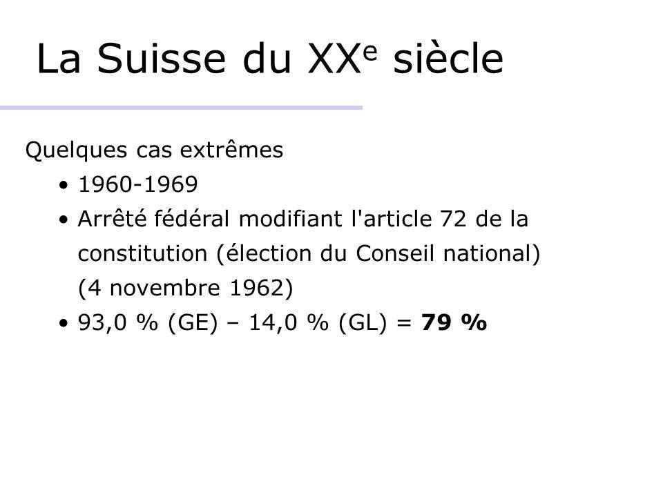 La Suisse du XX e siècle Quelques cas extrêmes 1960-1969 Arrêté fédéral modifiant l article 72 de la constitution (élection du Conseil national) (4 novembre 1962) 93,0 % (GE) – 14,0 % (GL) = 79 %