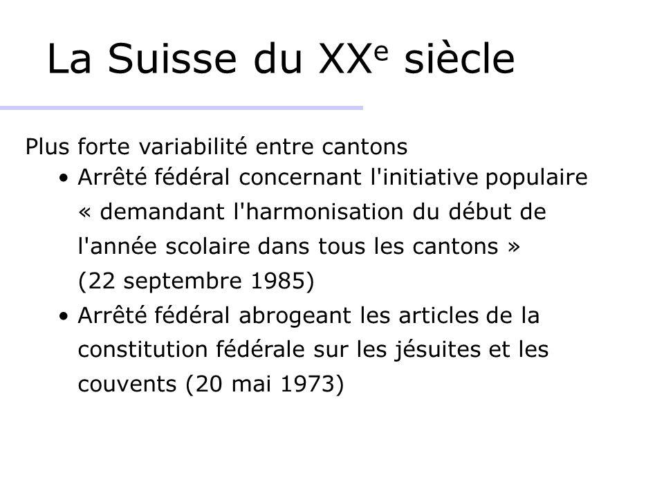 La Suisse du XX e siècle Plus forte variabilité entre cantons Arrêté fédéral concernant l'initiative populaire « demandant l'harmonisation du début de