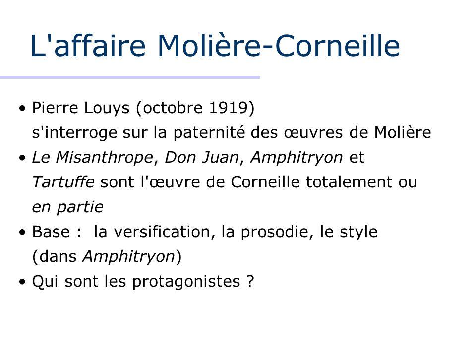 L affaire Molière-Corneille Jean Baptiste Poquelin (1622-1673) 1645-1959 (14 ans) années difficiles production faible 1659-1673 (14 ans) production abondante comédien, directeur du théâtre du Roi 1658 Corneille & Molière à Rouen