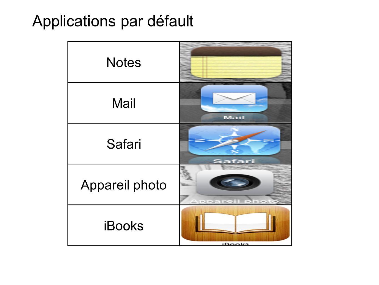 Notes Mail Safari Appareil photo iBooks Applications par défault