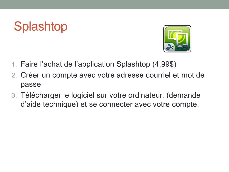 Splashtop 1.Faire lachat de lapplication Splashtop (4,99$) 2.