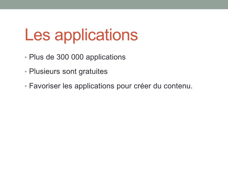 Les applications Plus de 300 000 applications Plusieurs sont gratuites Favoriser les applications pour créer du contenu.
