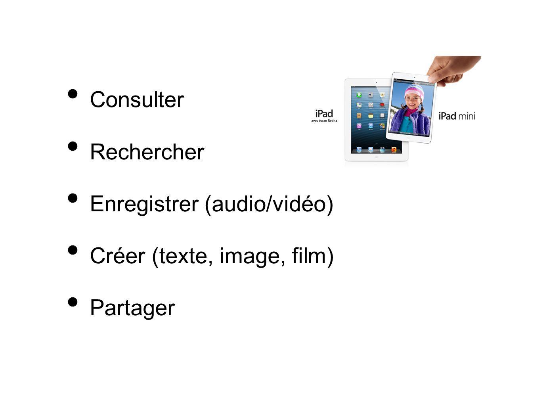 Consulter Rechercher Enregistrer (audio/vidéo) Créer (texte, image, film) Partager