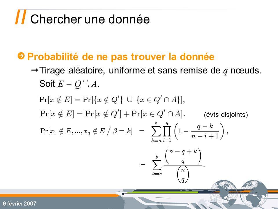 9 février 2007 Chercher une donnée Probabilité de ne pas trouver la donnée Tirage aléatoire, uniforme et sans remise de q nœuds.