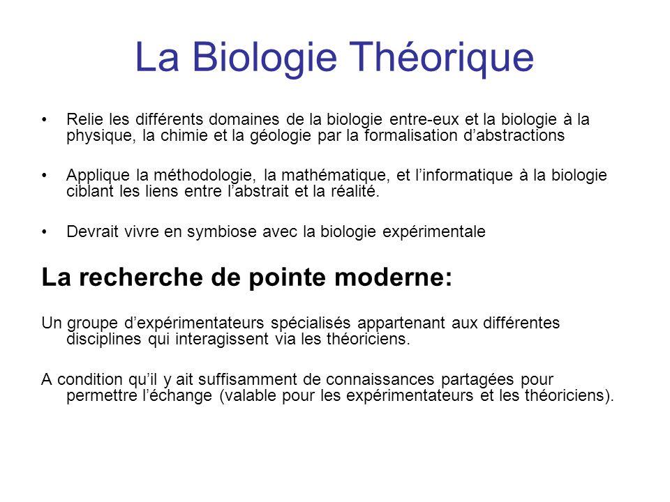 La Biologie Théorique Relie les différents domaines de la biologie entre-eux et la biologie à la physique, la chimie et la géologie par la formalisati