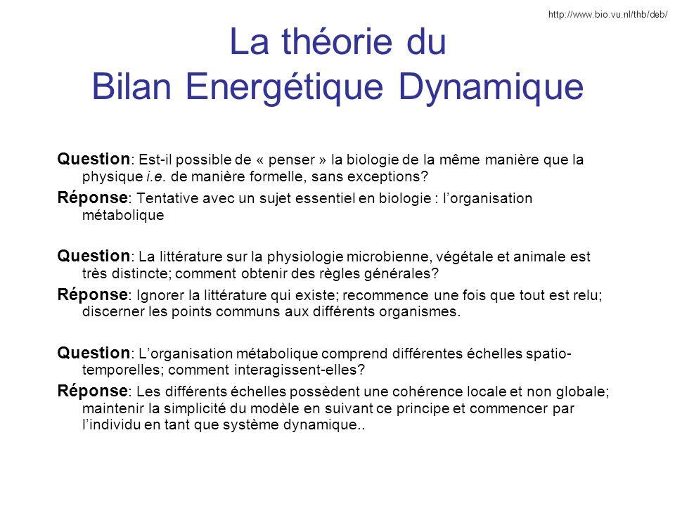 La théorie du Bilan Energétique Dynamique Question : Est-il possible de « penser » la biologie de la même manière que la physique i.e. de manière form