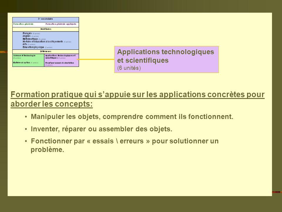 Applications technologiques et scientifiques (6 unités) Formation pratique qui sappuie sur les applications concrètes pour aborder les concepts: Manipuler les objets, comprendre comment ils fonctionnent.