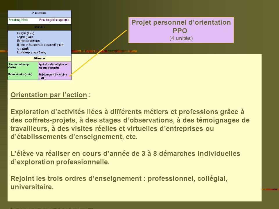 Services des ressources pédagogiques / CSMB / Michel Turcotte / octobre 2006 Projet personnel dorientation PPO (4 unités) Orientation par laction : Ex