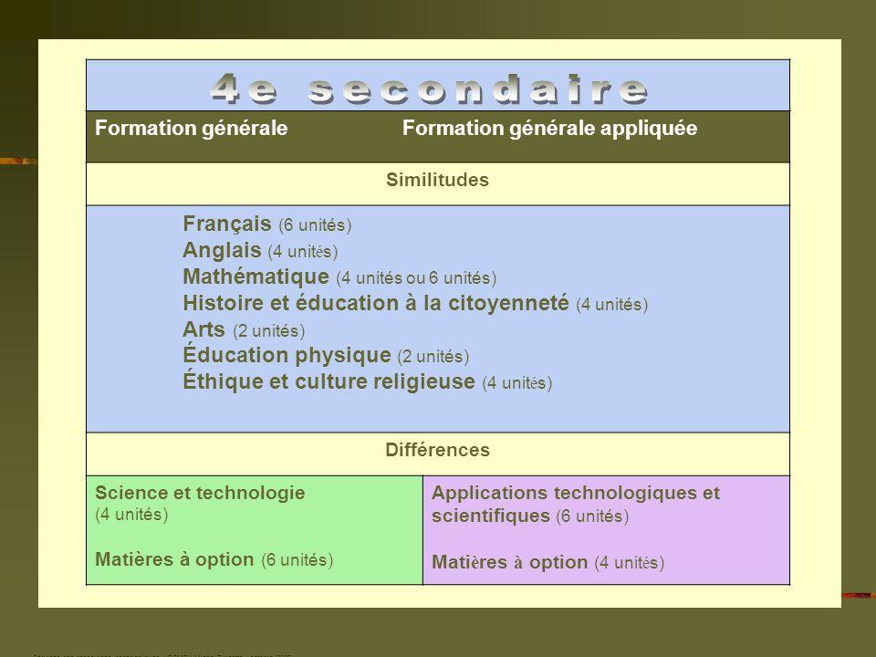 Formation générale Formation générale appliquée Similitudes Français (6 unités) Anglais (4 unit é s) Mathématique (4 unités ou 6 unités) Histoire et é