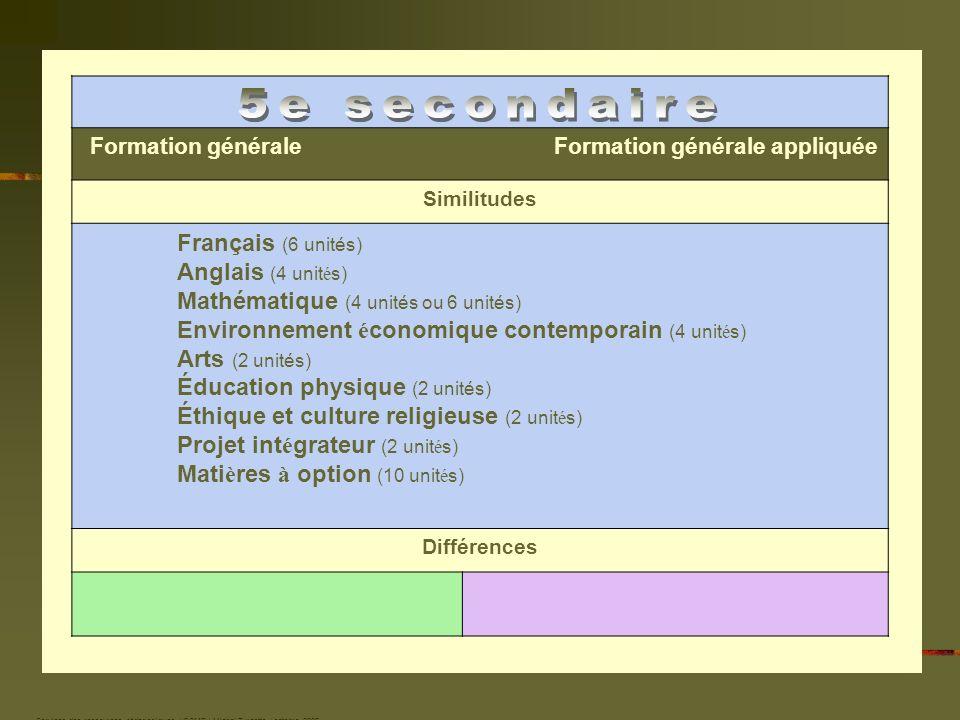 Services des ressources pédagogiques / CSMB / Michel Turcotte / octobre 2006 Formation générale Formation générale appliquée Similitudes Français (6 u