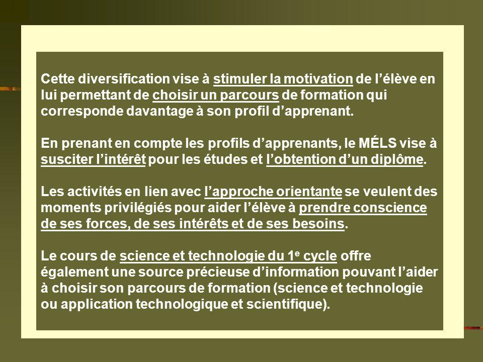 Services des ressources pédagogiques / CSMB / Michel Turcotte / octobre 2006 Cette diversification vise à stimuler la motivation de lélève en lui permettant de choisir un parcours de formation qui corresponde davantage à son profil dapprenant.