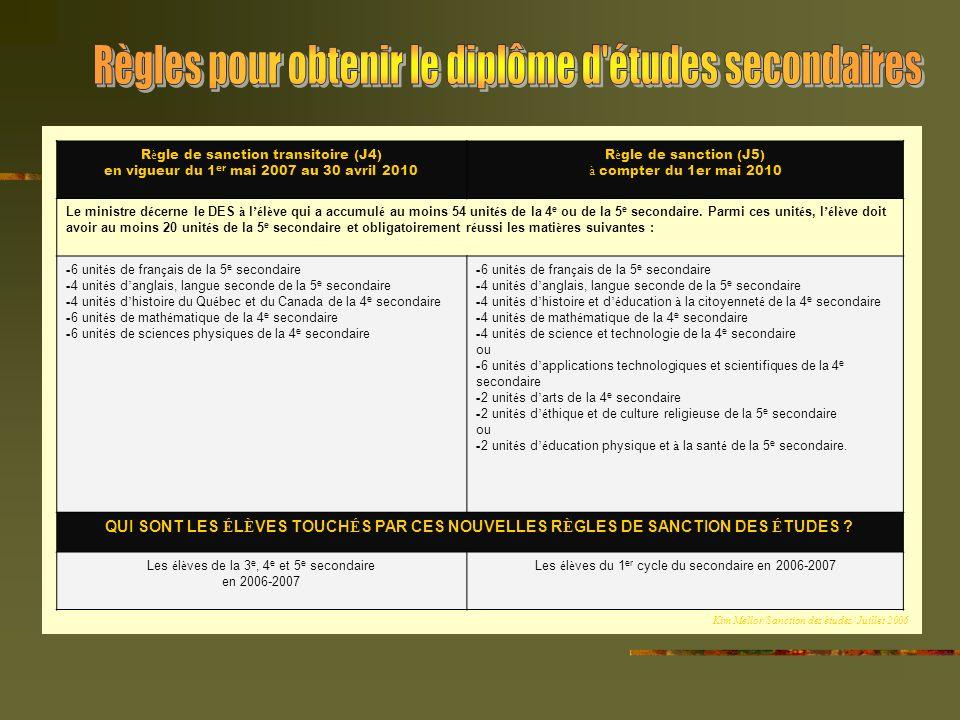 R è gle de sanction transitoire (J4) en vigueur du 1 er mai 2007 au 30 avril 2010 R è gle de sanction (J5) à compter du 1er mai 2010 Le ministre d é cerne le DES à l é l è ve qui a accumul é au moins 54 unit é s de la 4 e ou de la 5 e secondaire.