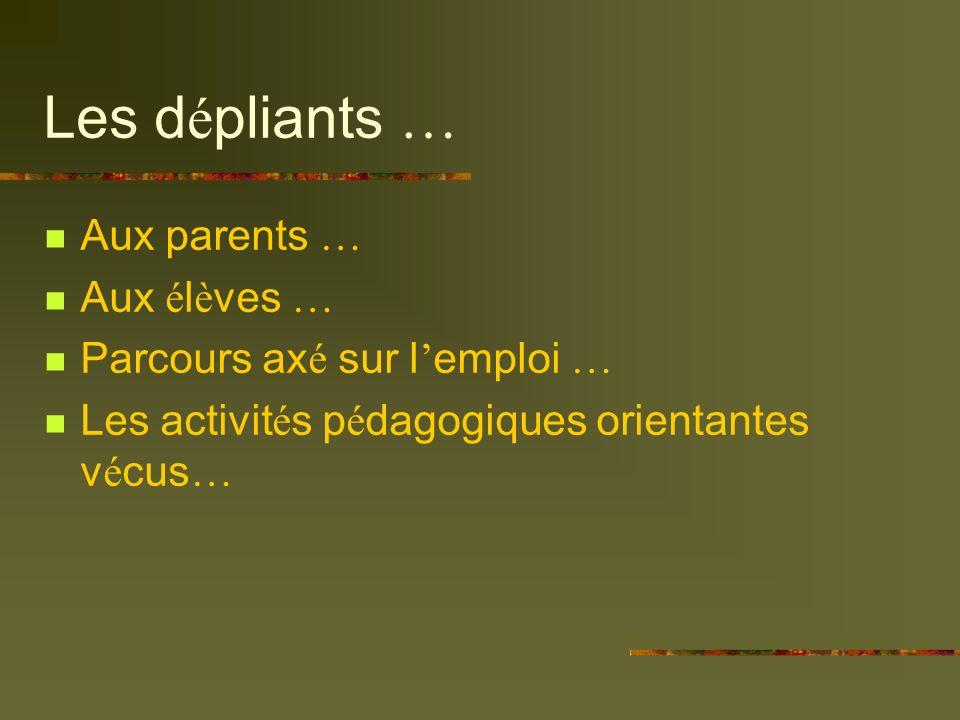Les d é pliants … Aux parents … Aux é l è ves … Parcours ax é sur l emploi … Les activit é s p é dagogiques orientantes v é cus …