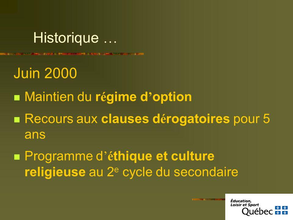 Juin 2000 Maintien du r é gime d option Recours aux clauses d é rogatoires pour 5 ans Programme dé thique et culture religieuse au 2 e cycle du second