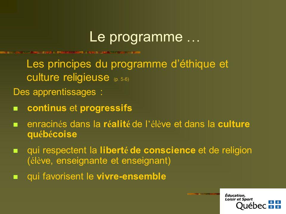 Le programme … Des apprentissages : continus et progressifs enracin é s dans la r é alit é de l é l è ve et dans la culture qu é b é coise qui respect
