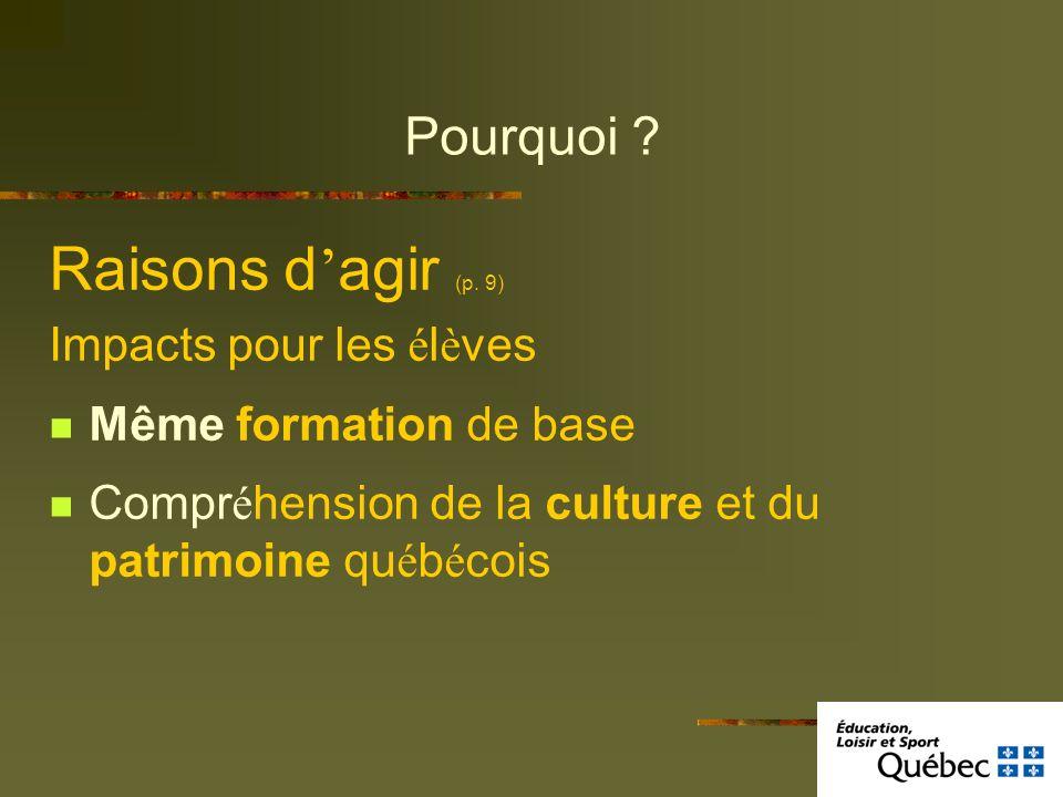 Pourquoi ? Raisons d agir (p. 9) Impacts pour les é l è ves Même formation de base Compr é hension de la culture et du patrimoine qu é b é cois