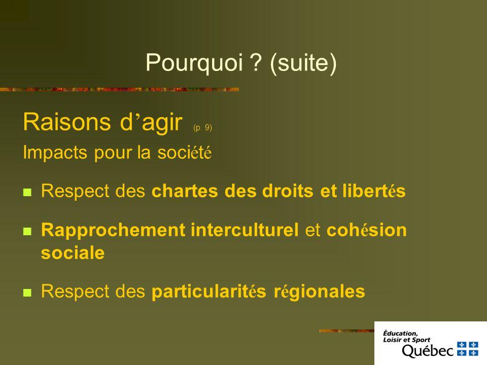 Pourquoi ? (suite) Raisons d agir (p. 9) Impacts pour la soci é t é Respect des chartes des droits et libert é s Rapprochement interculturel et coh é