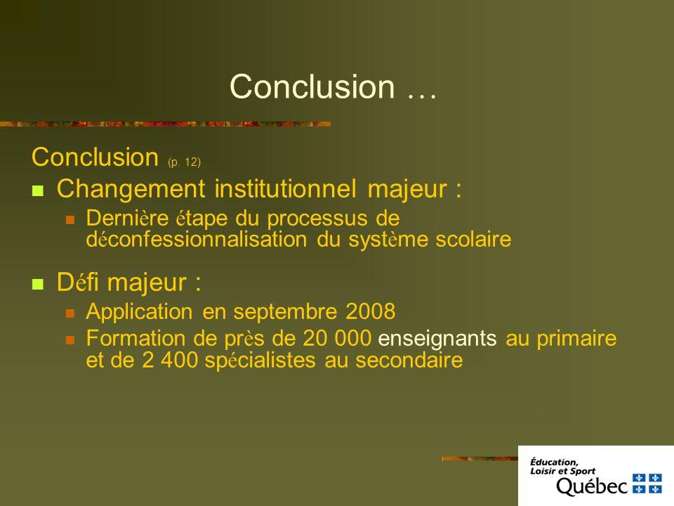 Conclusion … Conclusion (p. 12) Changement institutionnel majeur : Derni è re é tape du processus de d é confessionnalisation du syst è me scolaire D