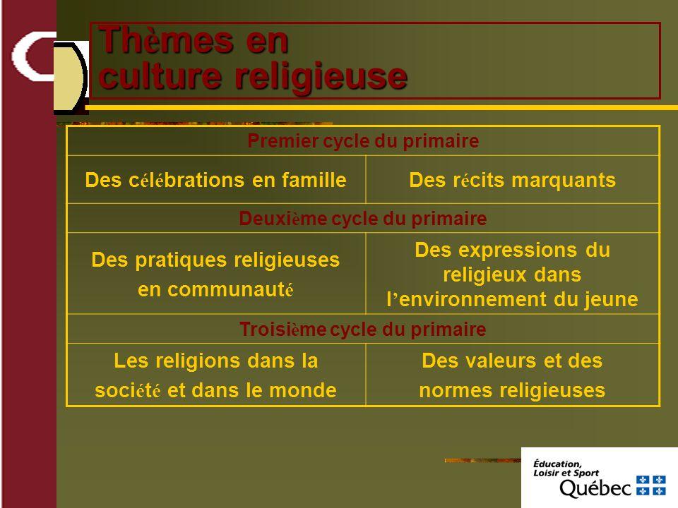Th è mes en culture religieuse Premier cycle du primaire Des c é l é brations en familleDes r é cits marquants Deuxi è me cycle du primaire Des pratiq