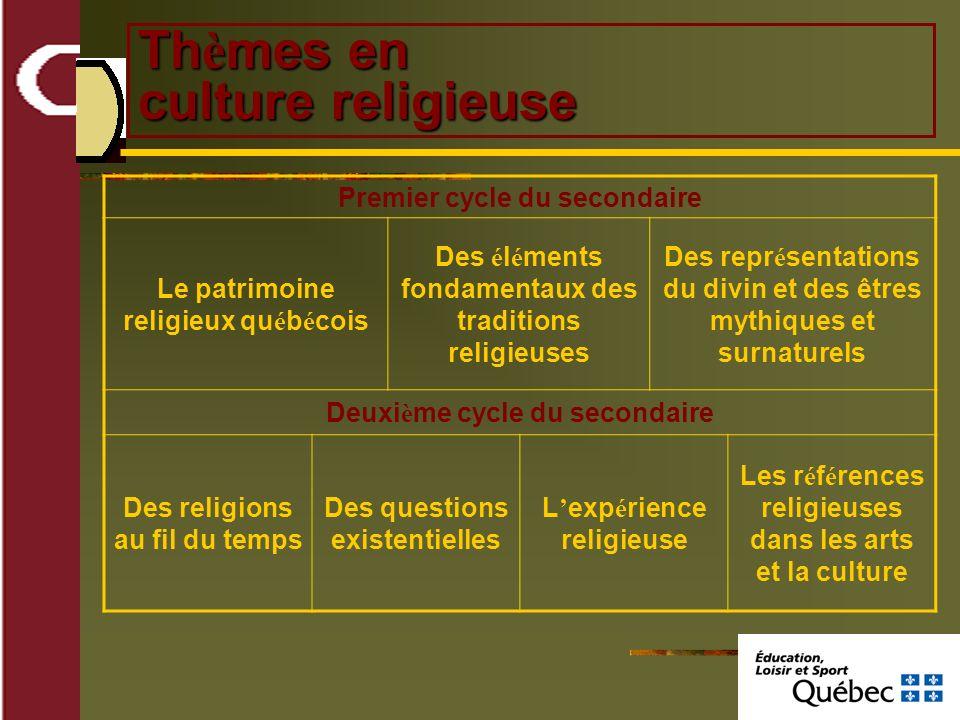 Th è mes en culture religieuse Premier cycle du secondaire Le patrimoine religieux qu é b é cois Des é l é ments fondamentaux des traditions religieus