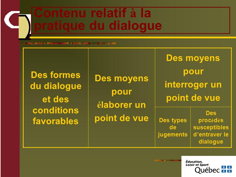Contenu relatif à la pratique du dialogue Des formes du dialogue et des conditions favorables Des moyens pour é laborer un point de vue Des moyens pour interroger un point de vue Des types de jugements Des proc é d é s susceptibles d entraver le dialogue