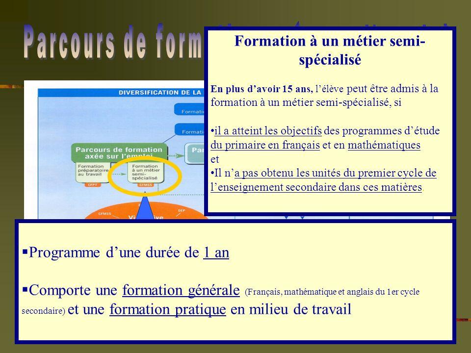 Programme dune durée de 1 an Comporte une formation générale (Français, mathématique et anglais du 1er cycle secondaire) et une formation pratique en