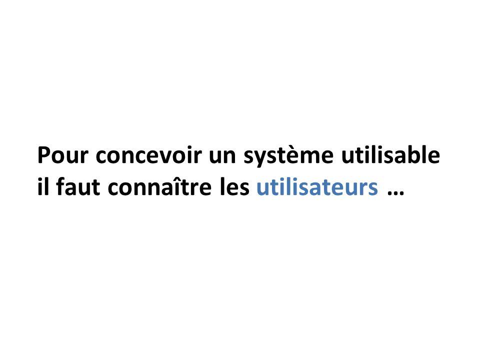 Pour concevoir un système utilisable il faut connaître les utilisateurs …
