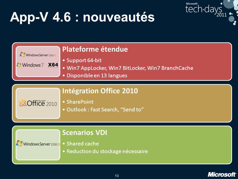 13 Plateforme étendue Support 64-bit Win7 AppLocker, Win7 BitLocker, Win7 BranchCache Disponible en 13 langues Intégration Office 2010 SharePoint Outl