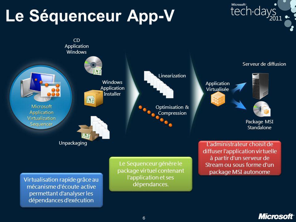 6 Le Séquenceur App-V Virtualisation rapide grâce au mécanisme découte active permettant danalyser les dépendances dexécution Le Sequenceur génère le