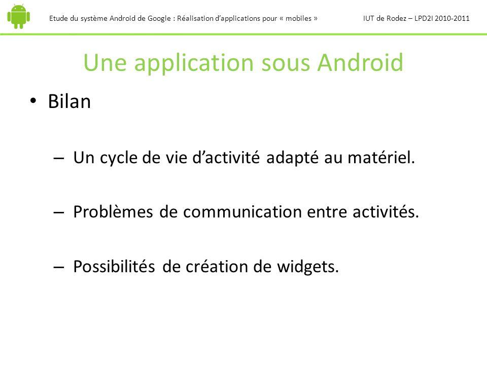 Une application sous Android Etude du système Android de Google : Réalisation dapplications pour « mobiles »IUT de Rodez – LPD2I 2010-2011 Bilan – Un