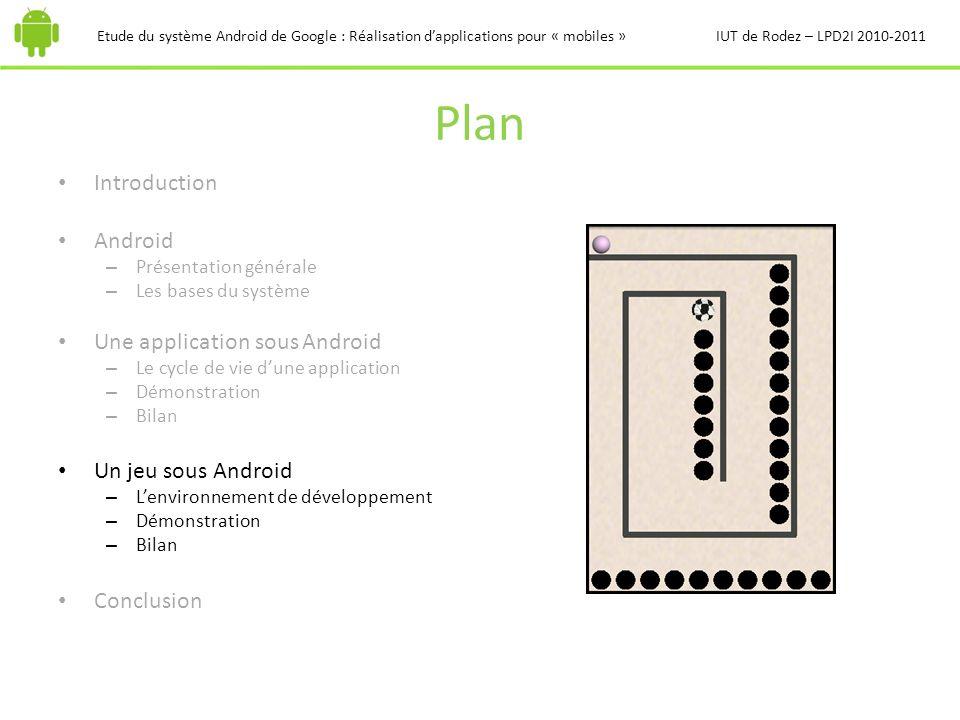 Plan Introduction Android – Présentation générale – Les bases du système Une application sous Android – Le cycle de vie dune application – Démonstrati