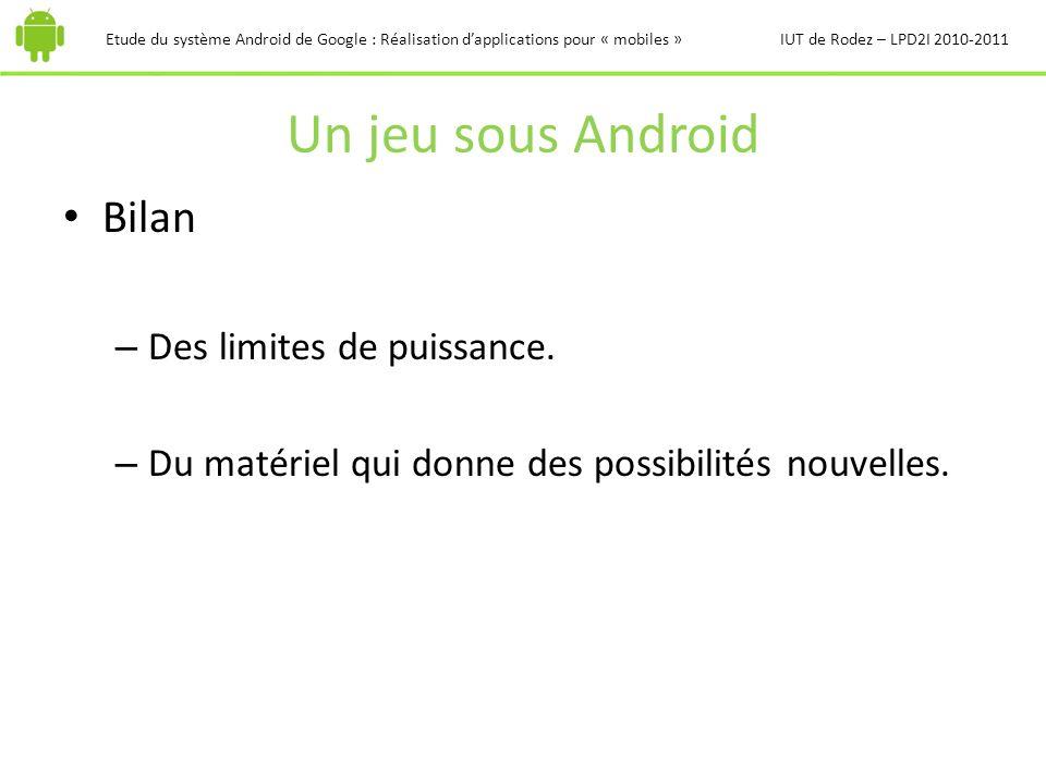 Un jeu sous Android Etude du système Android de Google : Réalisation dapplications pour « mobiles »IUT de Rodez – LPD2I 2010-2011 Bilan – Des limites