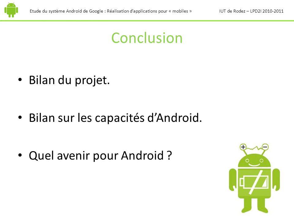 Conclusion Bilan du projet. Bilan sur les capacités dAndroid. Quel avenir pour Android ? Etude du système Android de Google : Réalisation dapplication